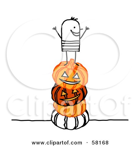 Royalty-Free (RF) Clipart Illustration of a Stick People Character Kid Standing On A Stack Of Halloween Pumpkins by NL shop