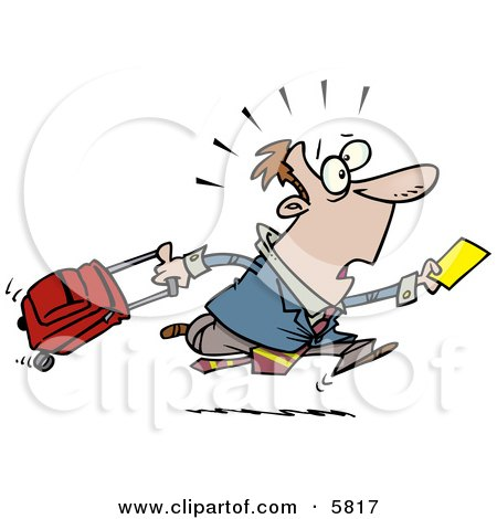 Late Traveler Man Running and Pulling His Luggage at the Airport Clipart Illustration by toonaday