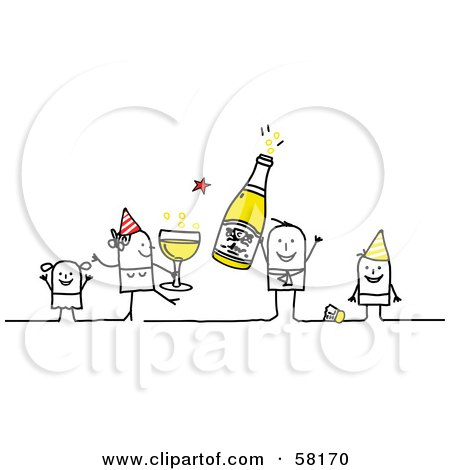 Royalty-Free (RF) Clipart Illustration of a Stick People Character Family Celebrating The New Year by NL shop