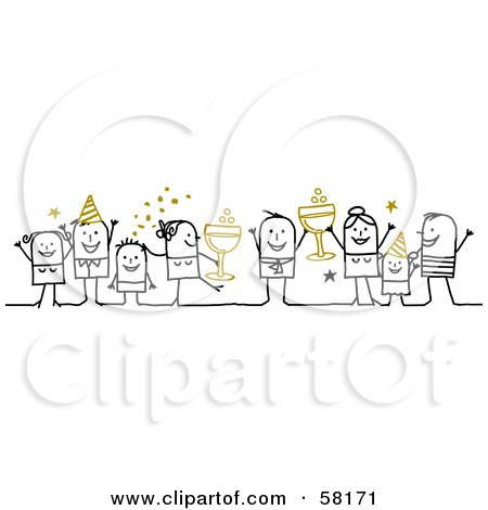 Royalty-Free (RF) Clipart Illustration of Stick People Character Party On New Years With Champagne by NL shop
