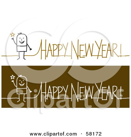 Royalty-Free (RF) Clipart Illustration of a Stick People Character With Happy New Year Greetings by NL shop