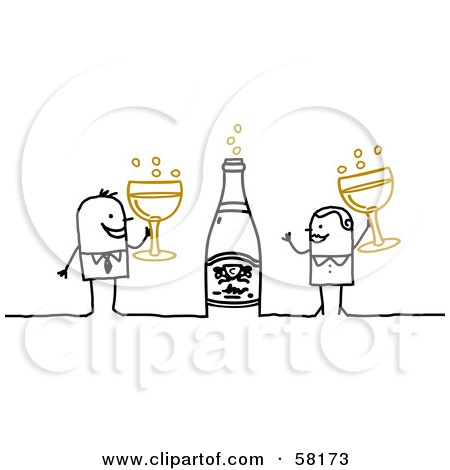 Royalty-Free (RF) Clipart Illustration of a Stick People Character Couple Celebrating New Years With Champagne by NL shop