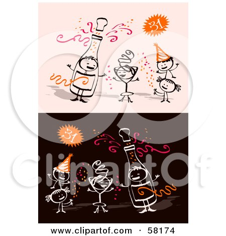 Royalty-Free (RF) Clipart Illustration of Stick People Characters Celebrating The New Year  by NL shop