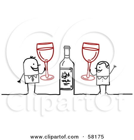 Royalty-Free (RF) Clipart Illustration of a Stick People Character Couple Celebrating With Champagne by NL shop
