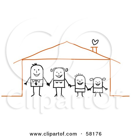 Royalty-Free (RF) Clipart Illustration of a Stick People Character Family Holding Hands In Their Home by NL shop