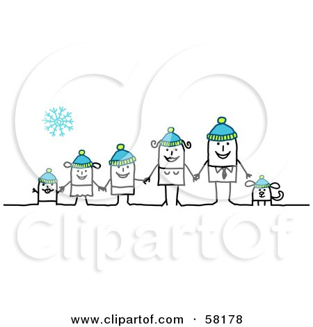 Royalty-Free (RF) Clipart Illustration of a Stick People Character Family And Dog Wearing Winter Hats by NL shop