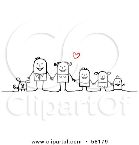 Royalty-Free (RF) Clipart Illustration of a Stick People Character Family Holding Hands And Standing With Their Dog Under A Heart by NL shop