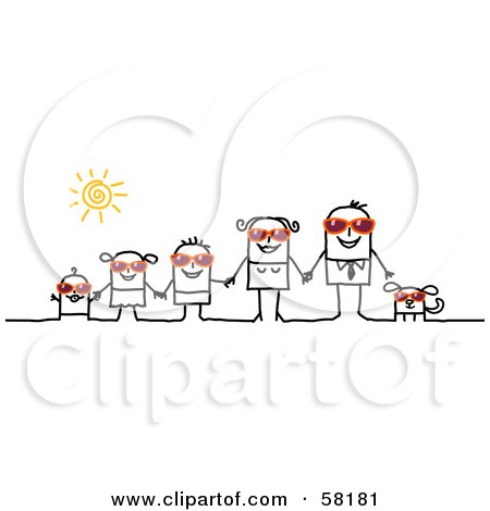 Royalty-Free (RF) Clipart Illustration of a Stick People Character Family And Dog Wearing Shades And Holding Hands by NL shop