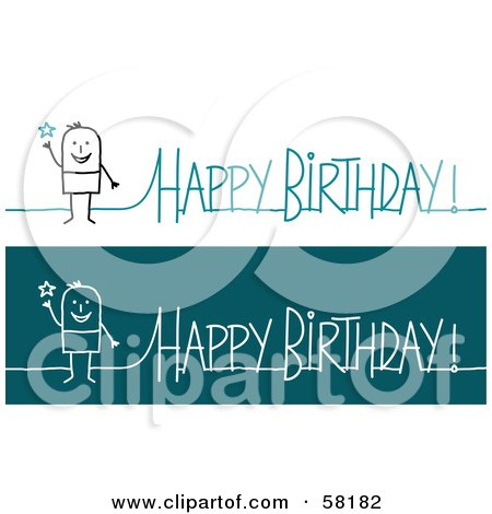Royalty-Free (RF) Clipart Illustration of a Stick People Character Happy Birthday Greeting by NL shop
