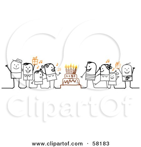 Stick People Characters Singing Around A Birthday Cake Posters, Art Prints