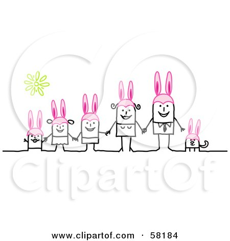 Royalty-Free (RF) Clipart Illustration of a Stick People Character Easter Family And Dog Wearing Bunny Ears by NL shop