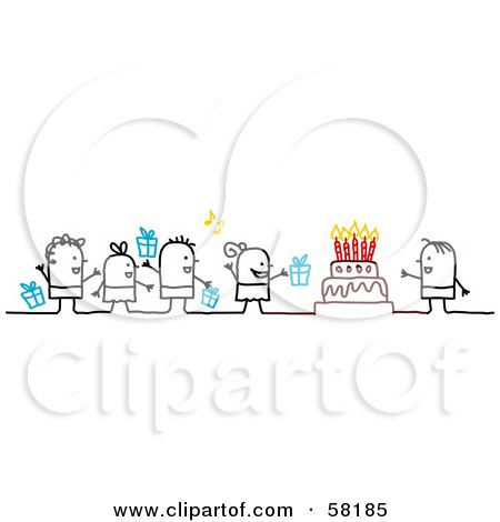 Royalty-Free (RF) Clipart Illustration of Stick People Character Kids With Presents, Singing To A Birthday Boy by NL shop