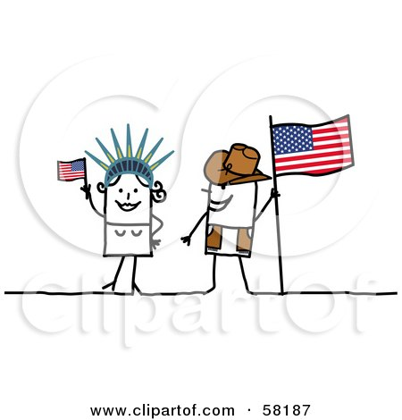 Royalty-Free (RF) Clipart Illustration of a Stick People Character Couple Touring America, With A Flag And Statue Of Liberty by NL shop