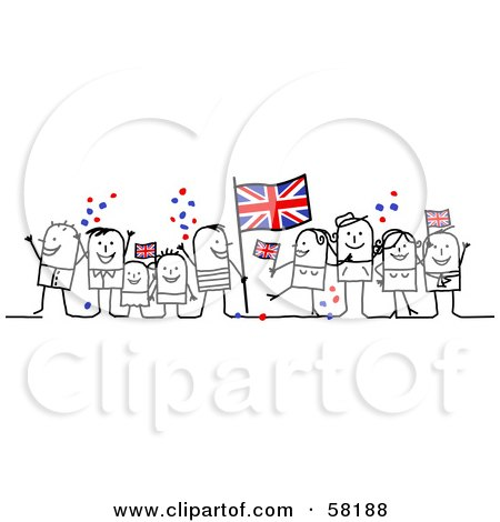 Royalty-Free (RF) Clipart Illustration of a Stick People Character Crowd Celebrating With Union Jack Flags by NL shop