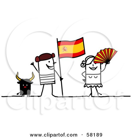 Royalty-Free (RF) Clip Art Illustration of a Stick People Character Couple Touring Spain, With A Bull And Flag by NL shop