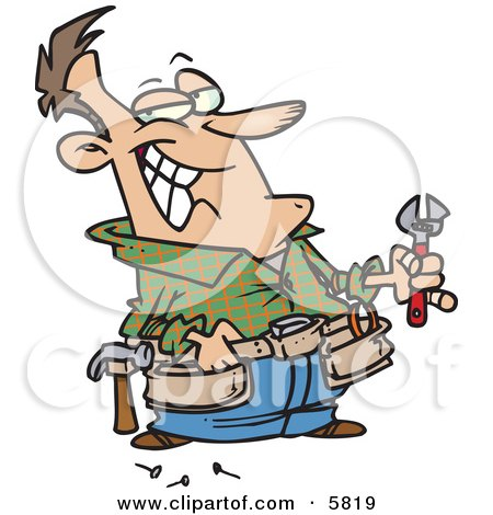 Handy Man Holding Tools and Smiling Clipart Illustration by Ron Leishman