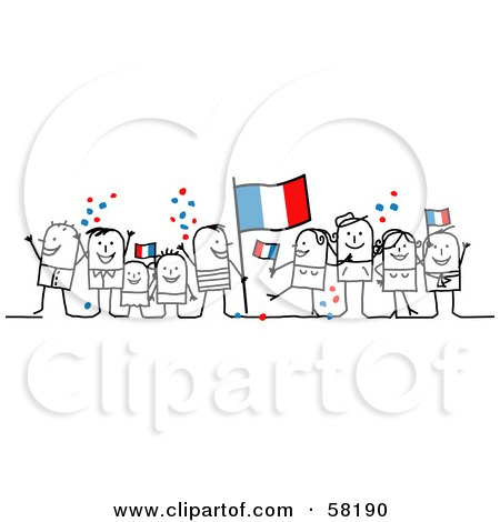 Royalty-Free (RF) Clipart Illustration of a Stick People Character Crowd Celebrating With France Flags by NL shop