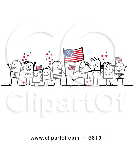 Royalty-Free (RF) Clipart Illustration of a Stick People Character Crowd Celebrating With American Flags by NL shop