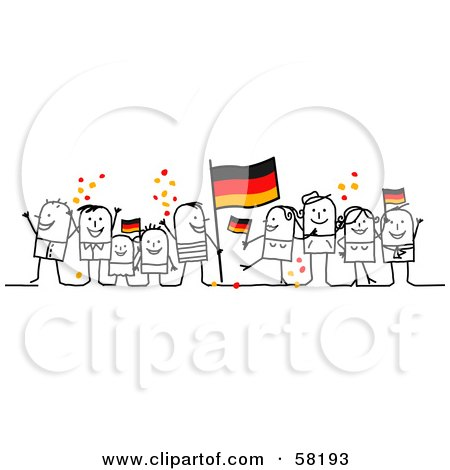 Royalty-Free (RF) Clipart Illustration of a Stick People Character Crowd Celebrating With German Flags by NL shop