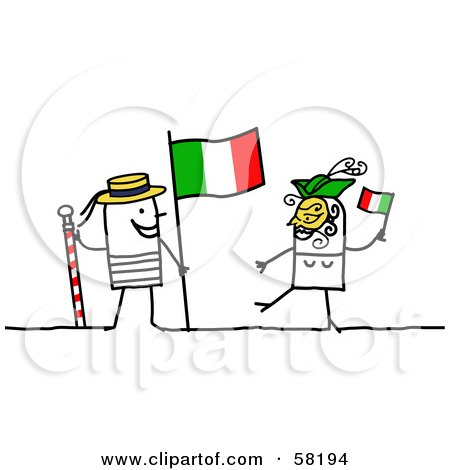 Royalty-Free (RF) Clipart Illustration of a Stick People Character Couple Touring Italy, With A Flag by NL shop