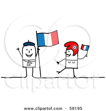 Royalty-Free (RF) Clipart Illustration of a Stick People Character Couple Touring France, With A Flag by NL shop