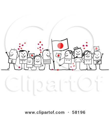 Royalty-Free (RF) Clipart Illustration of a Stick People Character Crowd Celebrating With Japan Flags by NL shop