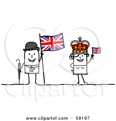 Royalty-Free (RF) Clipart Illustration of a Stick People Character Couple Touring The United Kingdom, With A Flag And Crown by NL shop