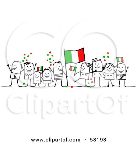 Royalty-Free (RF) Clipart Illustration of a Stick People Character Crowd Celebrating With Italy Flags by NL shop