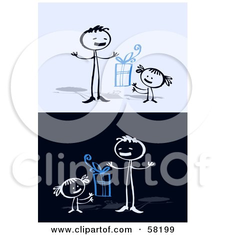 Royalty-Free (RF) Clipart Illustration of a Stick People Character Dad Receiving A Father's Day Present From His Daughter by NL shop