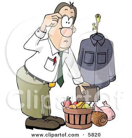 Businessman Bringing Christmas Food Gifts Home Clipart Illustration by djart