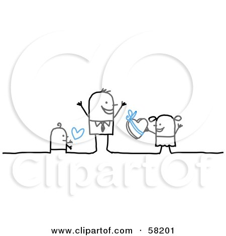 Royalty Free RF Clipart Illustration Of Stick People Character Children Giving Their Dad Love And Candy On Fathers Day
