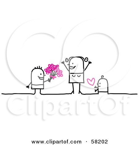 58202 Stick People Character Children Giving Their Mom Flowers And Love On Mothers Day