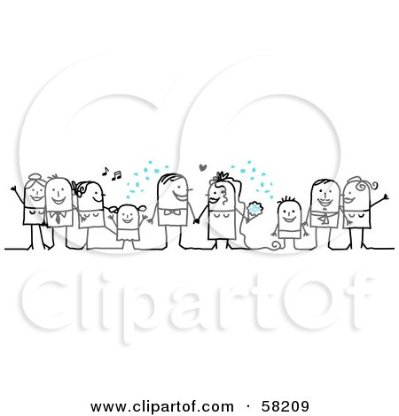 Stick People Character Wedding With The Guests Tossing Confetti Posters, Art Prints