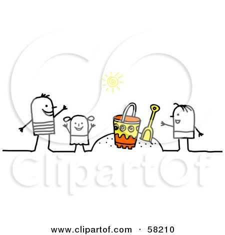 Royalty-Free (RF) Clipart Illustration of a Stick People Character Family Playing In The Sand On A Beach by NL shop