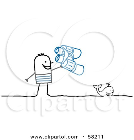 Royalty-Free (RF) Clipart Illustration of a Stick People Character Man Whale Watching by NL shop