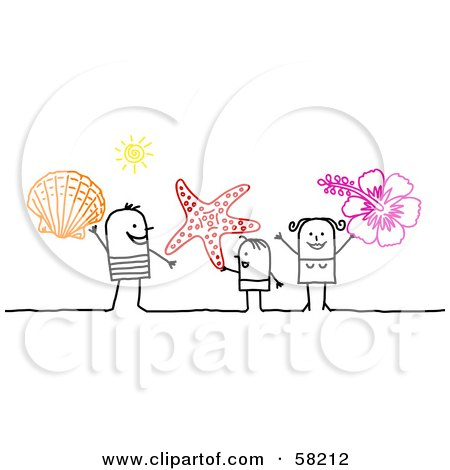 Royalty-Free (RF) Clipart Illustration of a Stick People Character Family On Vacation, Holding A Shell, Starfish And Hibiscus by NL shop