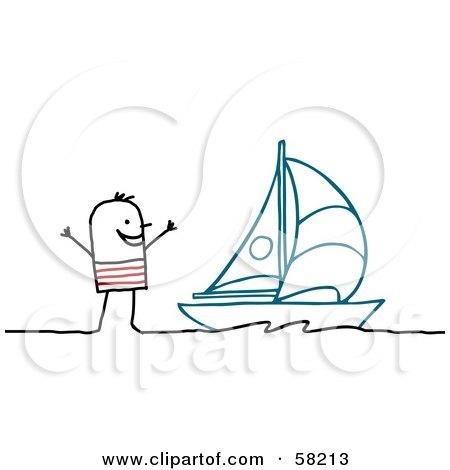Stick People Character By A Sailboat Posters, Art Prints