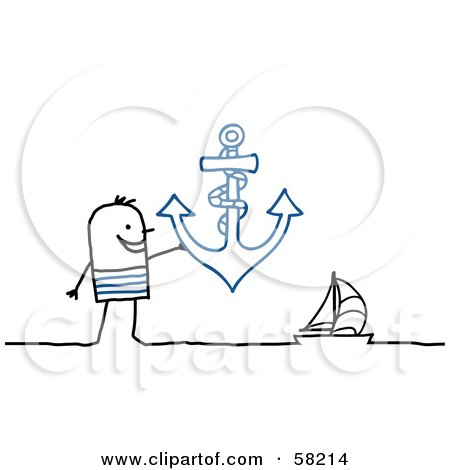 Royalty-Free (RF) Clipart Illustration of a Stick People Character Man Holding An Anchor Near A Sailboat by NL shop