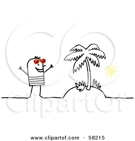 Royalty-Free (RF) Clipart Illustration of a Stick People Character Man Standing On A Tropical Island by NL shop