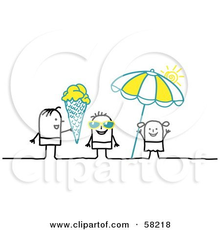 Royalty-Free (RF) Clipart Illustration of Stick People Character Kids With Shades, Ice Cream And An Umbrella On A Beach by NL shop