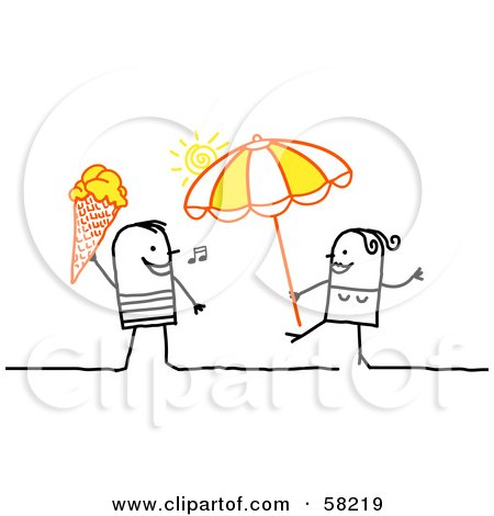 Royalty-Free (RF) Clipart Illustration of a Stick People Character Couple With Ice Cream And An Umbrella On A Beach by NL shop