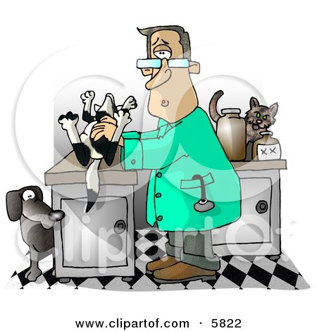 Male Veterinarian Handling a Dead Dog On a Table Clipart Illustration by djart