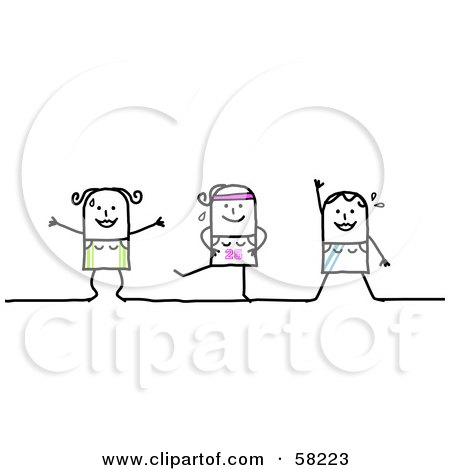 Royalty-Free (RF) Clipart Illustration of Stick People Character Women Exercising In A Fitness Class by NL shop