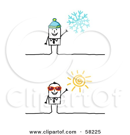 Royalty-Free (RF) Clipart Illustration of a Stick People Character Businessman In Winter And Summer by NL shop