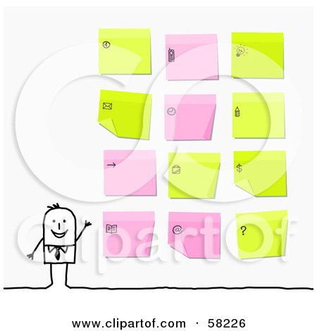 Royalty-Free (RF) Clipart Illustration of a Stick People Character Businessman Presenting His Organized Sticky Notes by NL shop