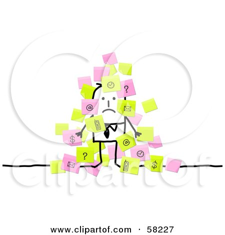 Royalty-Free (RF) Clipart Illustration of a Stick People Character Businessman Overwhelmed With Sticky Notes by NL shop