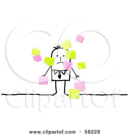 Royalty-Free (RF) Clipart Illustration of a Stick People Character Businessman Surrounded By Sticky Notes by NL shop