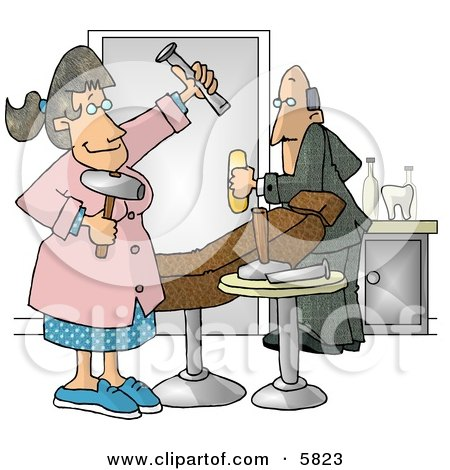 Scared Man Leaving Female Hygienist's Old Fashioned Dental Room Clipart Illustration by djart