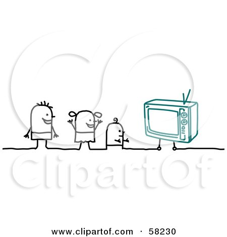 Royalty-Free (RF) Clipart Illustration of Stick People Character Kids Watching TV by NL shop