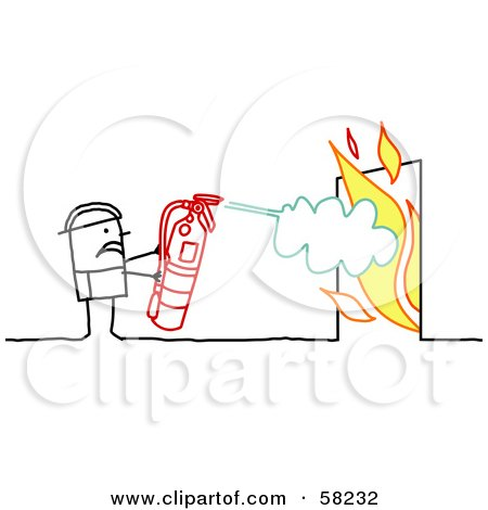 Royalty-Free (RF) Clipart Illustration of a Stick People Character Fireman Using A Fire Extinguisher by NL shop